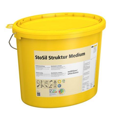 Beltér, Effektek és struktúrbevonatok, StoSil Struktur Medium, szilikát bázisú festék, 20 kg, fehér,
