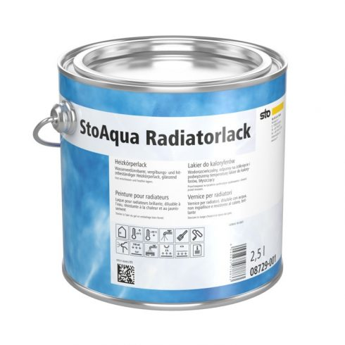 Lakk, lazúr, Lakkok, StoAqua Radiatorlack, hőálló fényes fűtőtestlakk, 2,5 l, fehér, 08729-001
